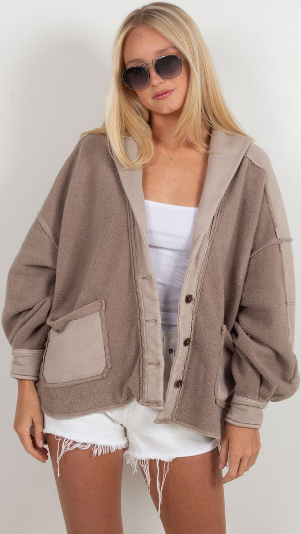 oversized two toned jacket brown