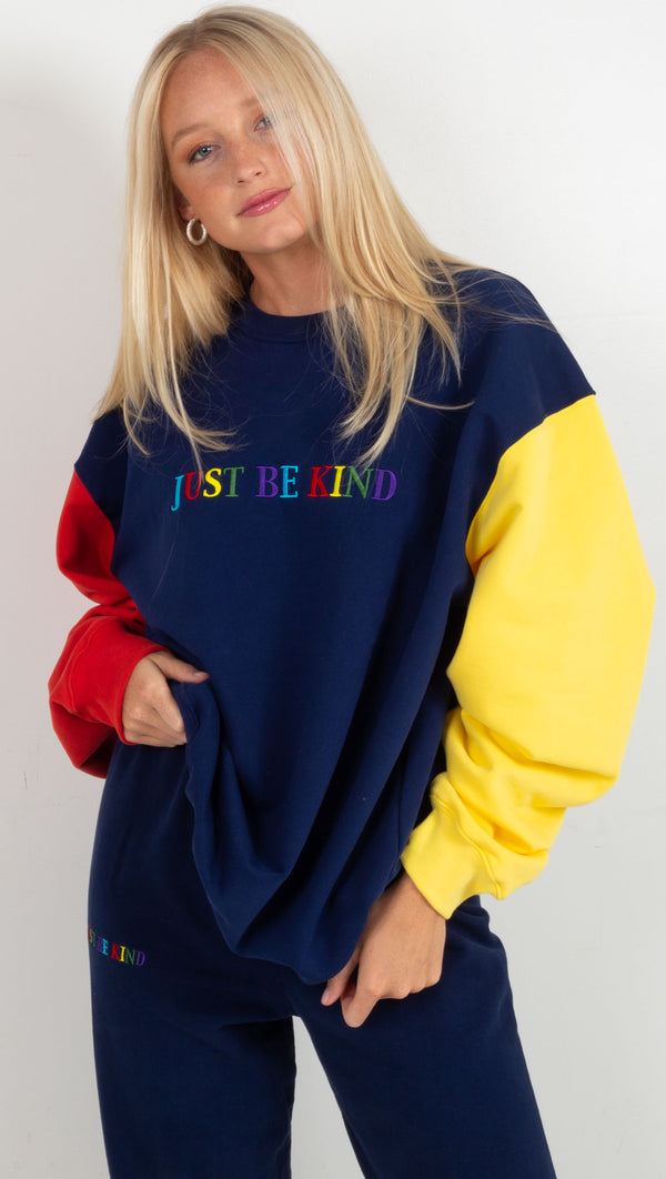 Just Be Kind Colorblock Crewneck - Navy