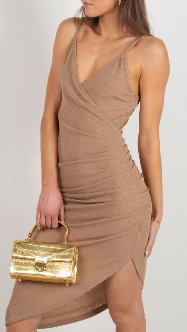 Justine Micro Ribbed Midi Dress - Taupe