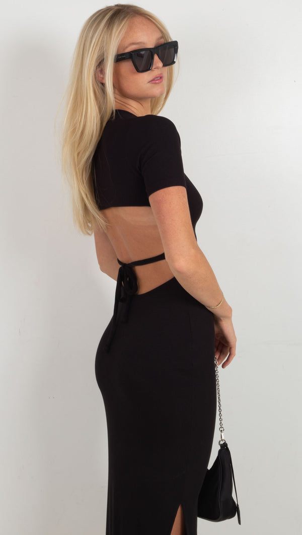 Nara Cut Out Rib Dress - Black