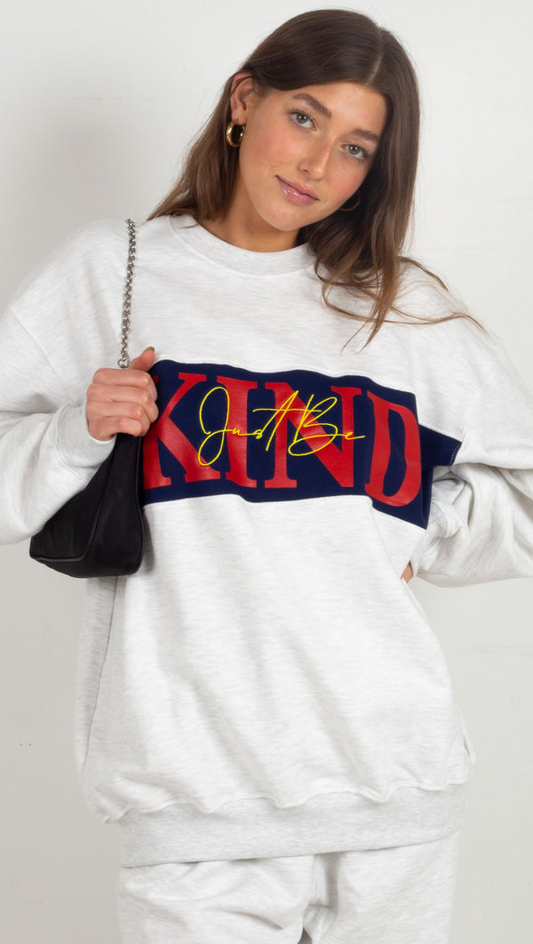 mayfair crewneck jacket blue red yellow just be kind words grey