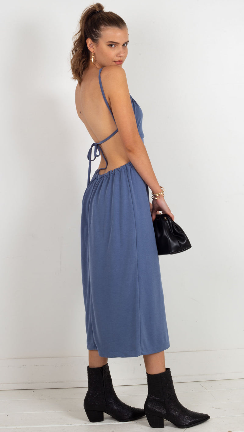 Pull In Midi Dress - Denim Blue