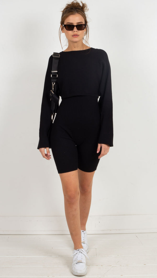 tight romper with matching sweater on top black