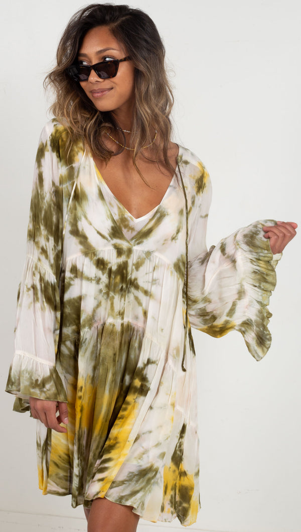 mini long sleeve v dress green yellow white tie dye