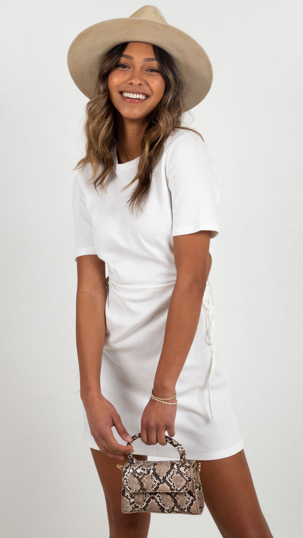 Stella Cut Out T Shirt Dress - Off White