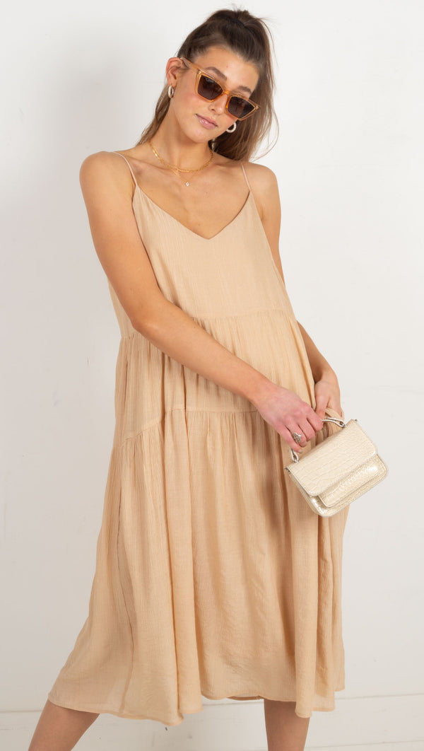 Tayla Midi Dress - Nude