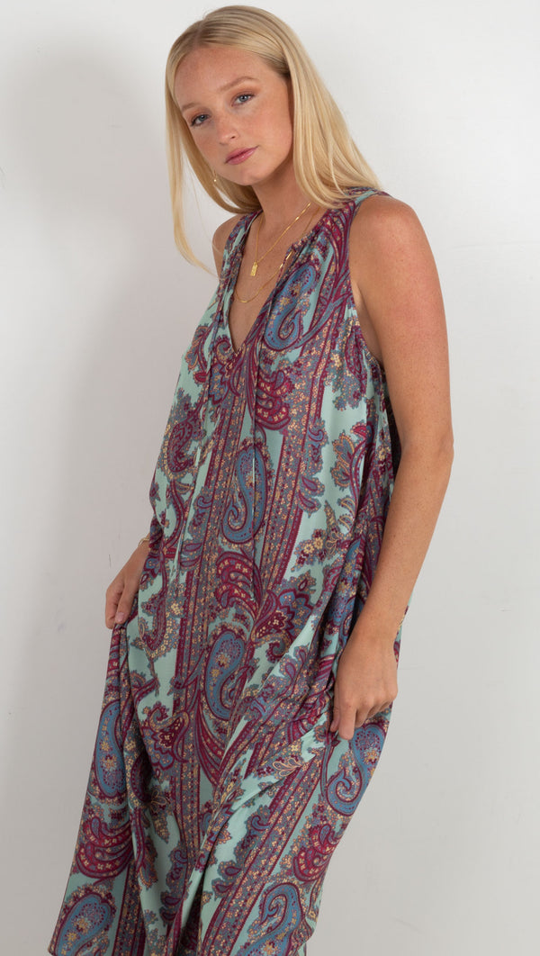 The Maye Dress  - Aqua Paisley