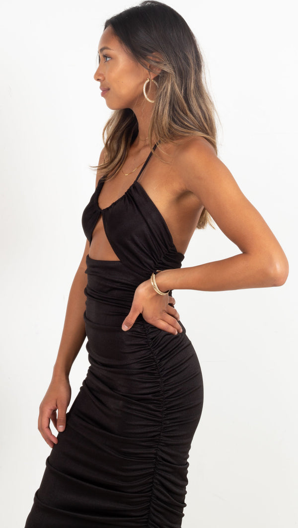 Lead On Halter Midi - Black