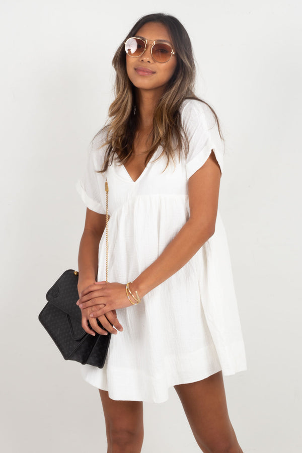 Alina V-Neck Dress - White