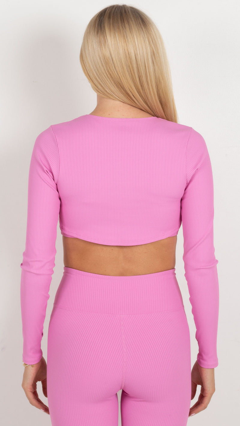 Ribbed Active Shrug - True Pink