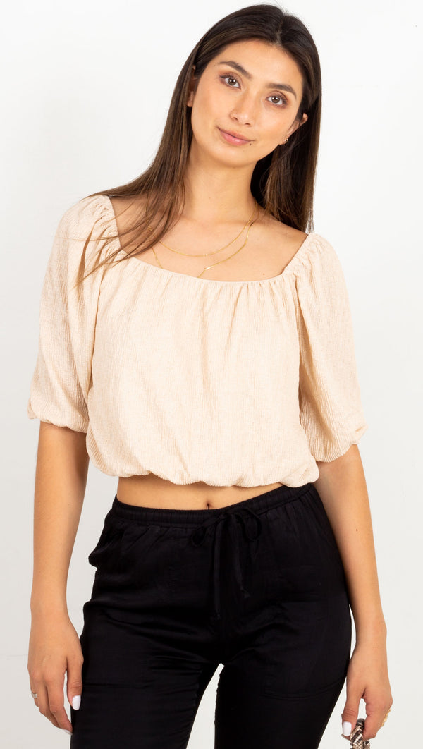 crop top loose fitting cream