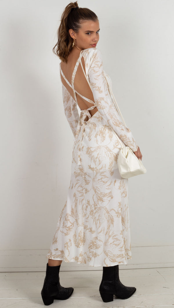 lace back long sleeve maxi dress white and tan flower design