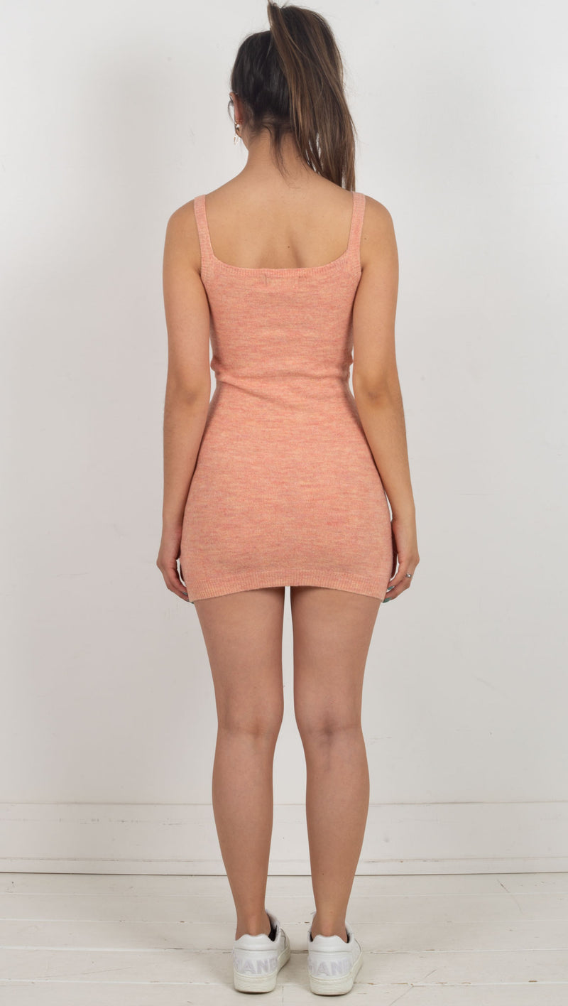 Cannes Knit Cut Out Mini Dress - Peach