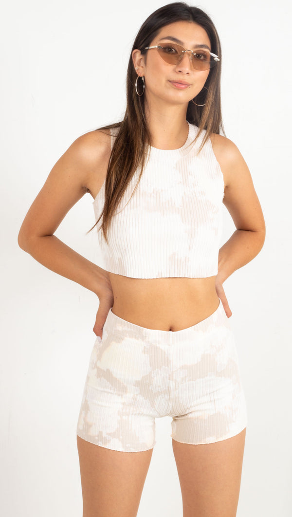tie dye cropped ribbed tank cream and white