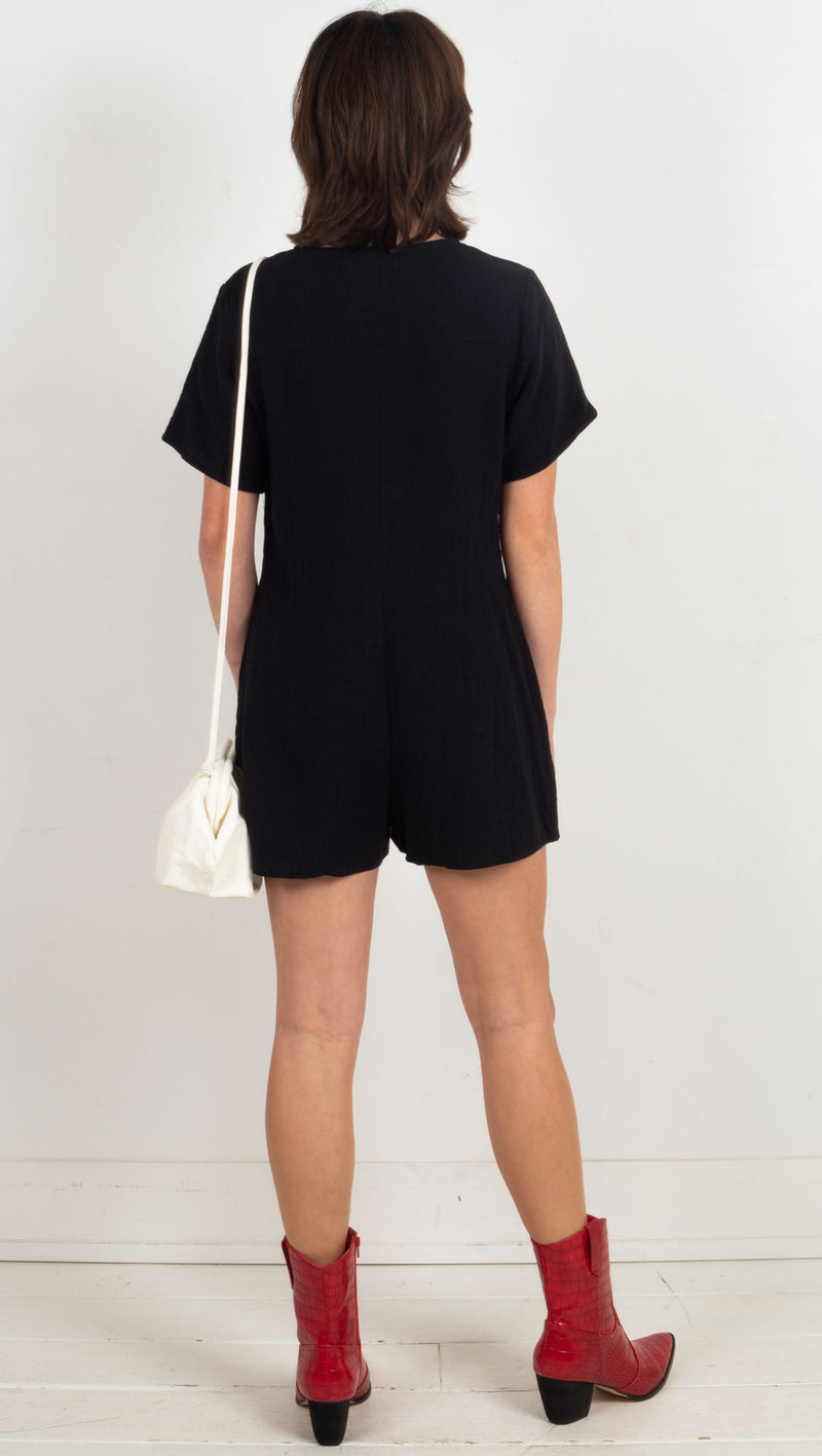 Devlin Button Down Romper - Black