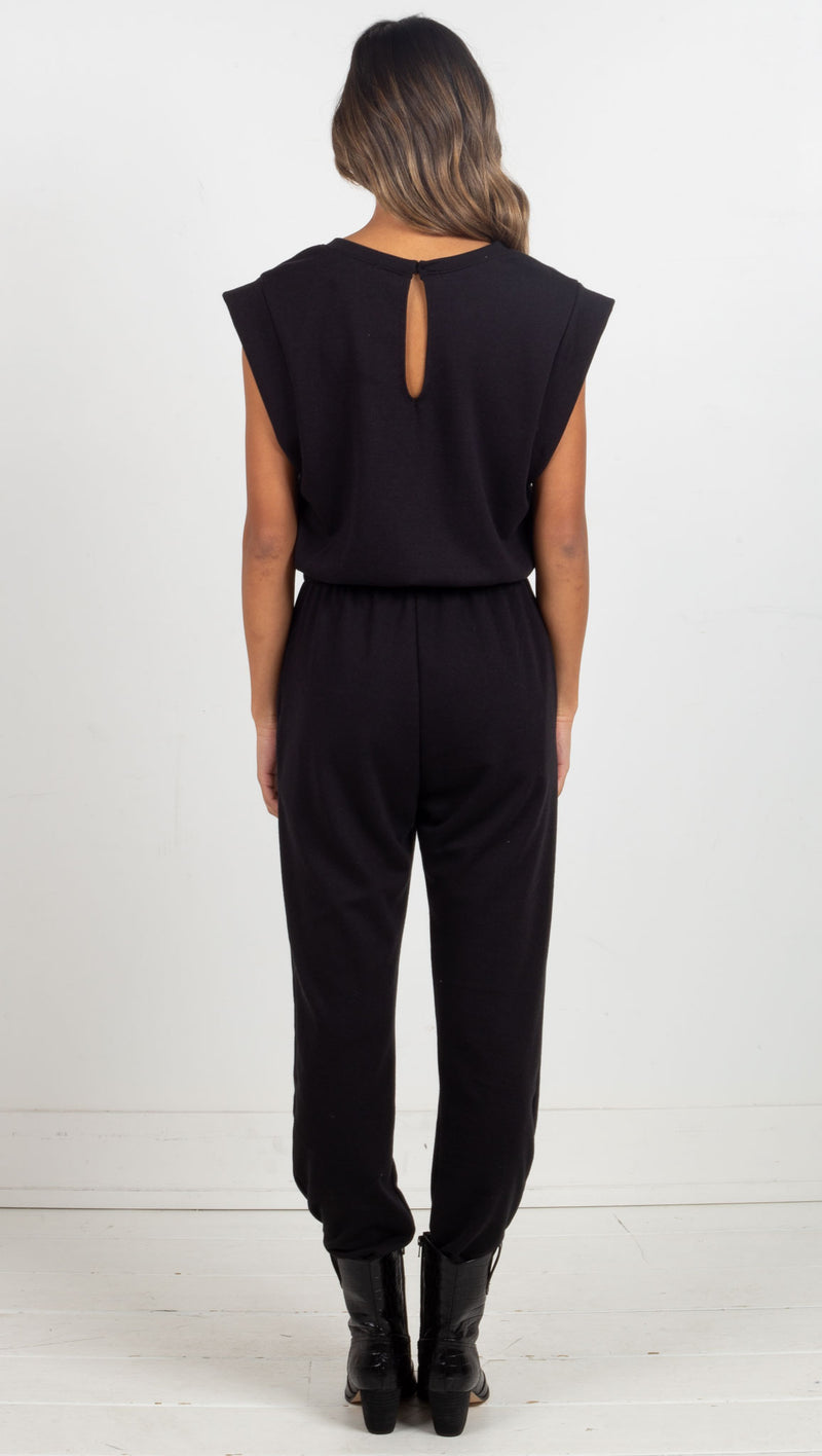 Drawstring Jumpsuit - Black