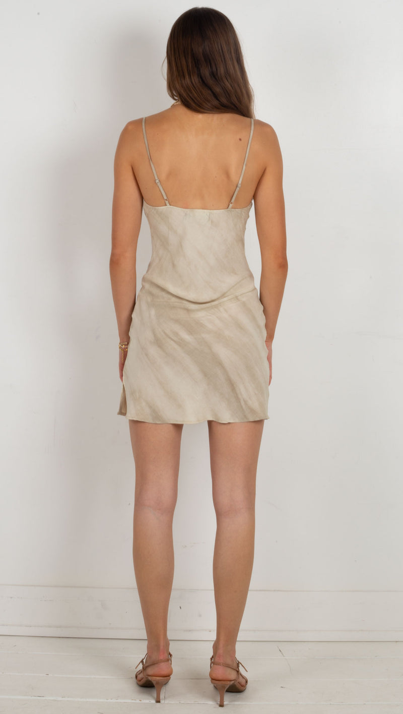 Dream Cowl Neck Mini Dress - Beige Tie Dye