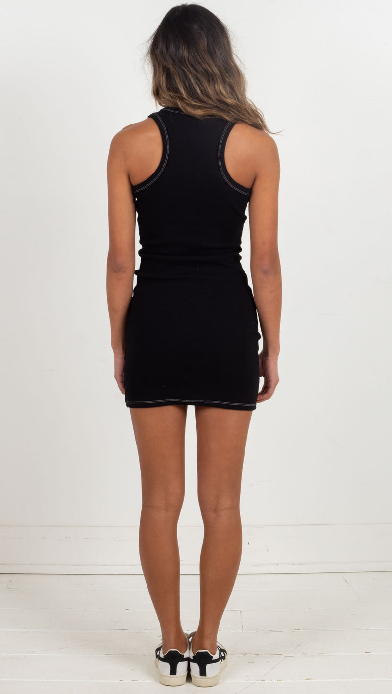 Exposed Stitch Rib Tank Dress - Black