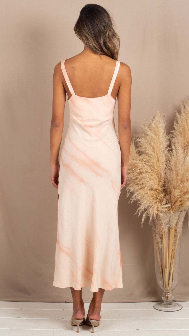 Isabella Tie Dye Maxi Dress - Coral