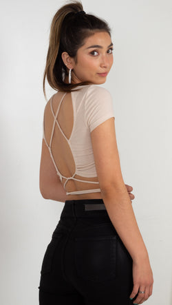 ribbed cropped tee with ties in the front and open back tan