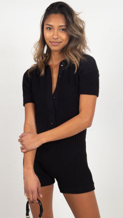 romper wide ribbed with collar black