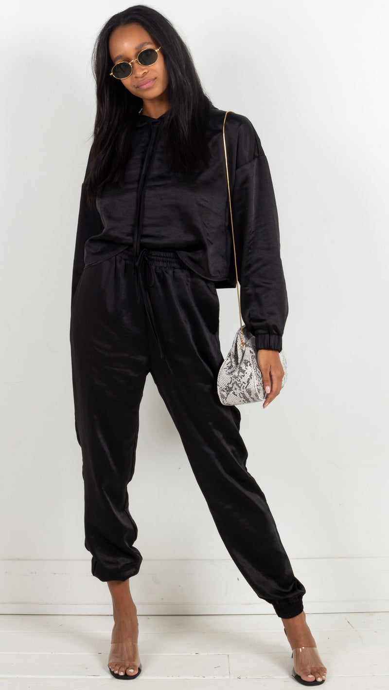 Satin Jogger Set - Black