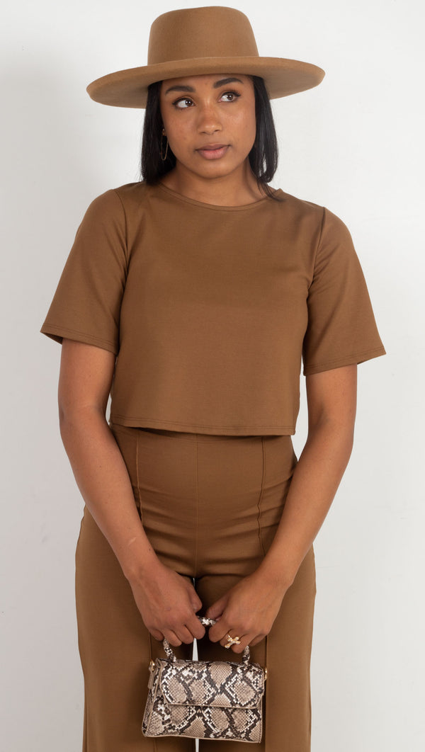 crop structured soft shirt brown