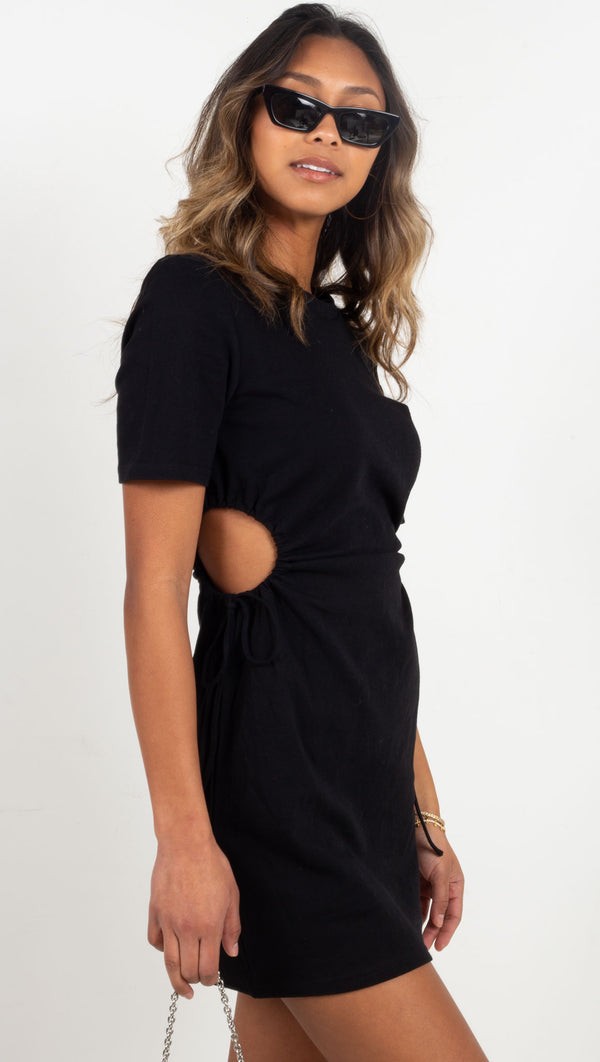 t shirt mini dress with cut outs on the side black