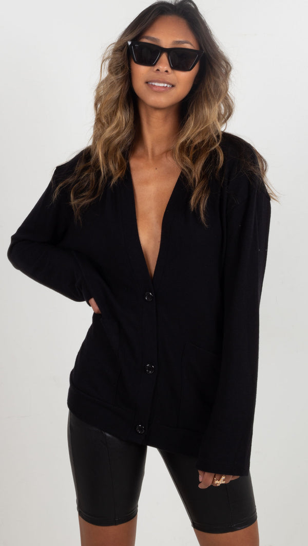 three button up long sleeve cardigan black