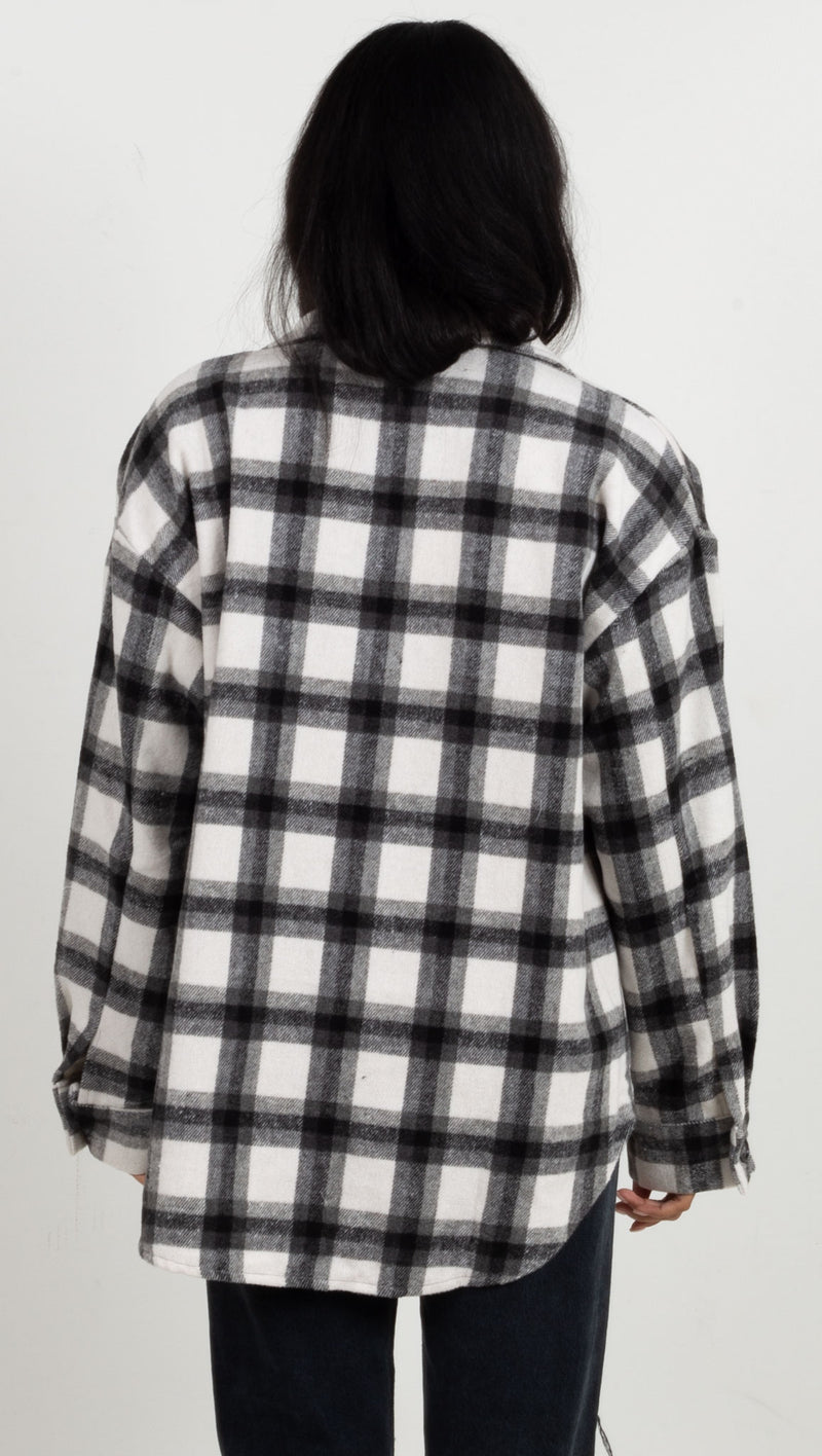 Thalia Plaid Jacket - Black/White
