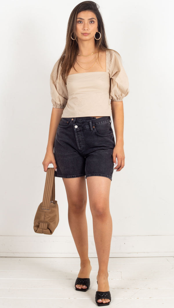 Meghan Lace Up Top - Khaki