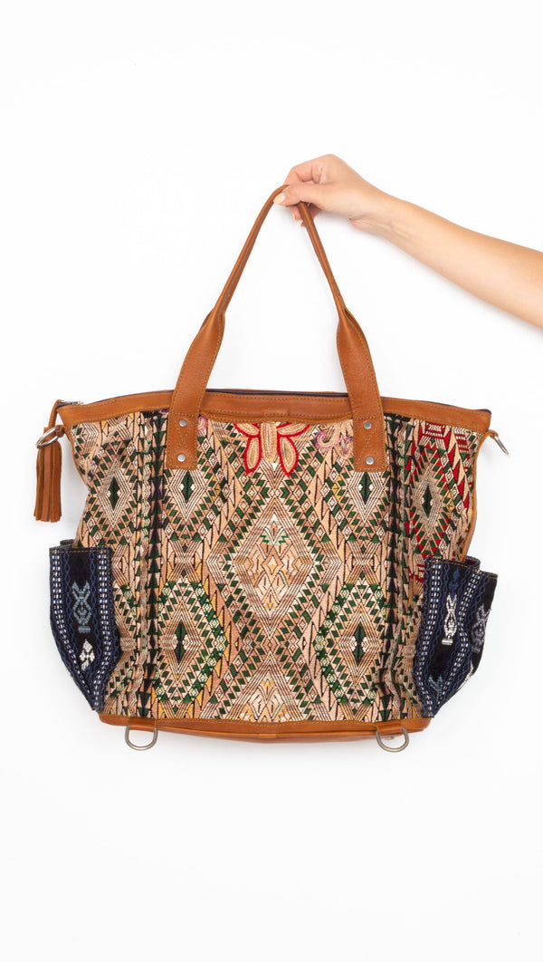 One Of A Kind Convertible Carryall - Tan/Dragon Eyes