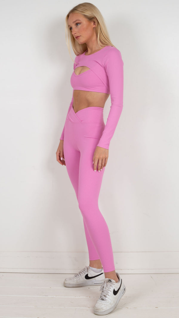 Ribbed high waisted legging pink
