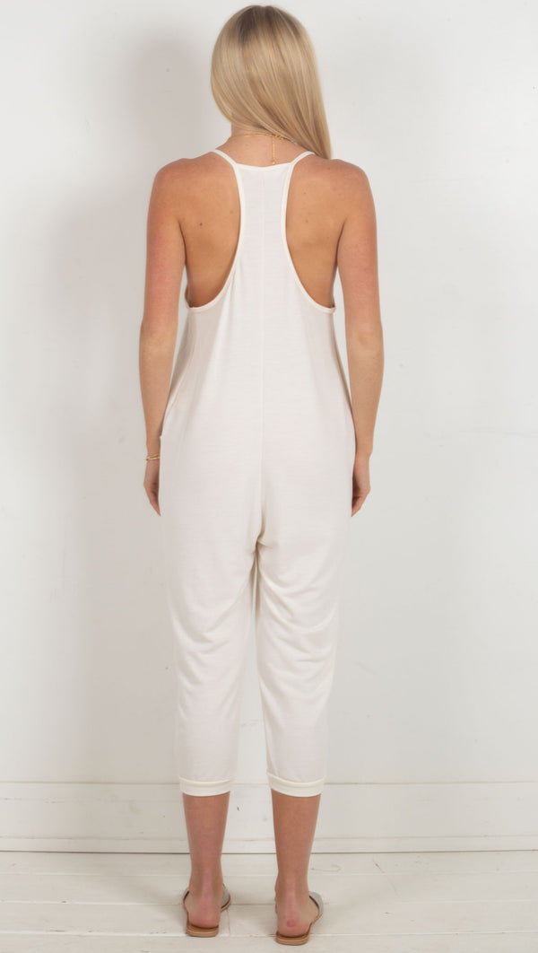 French Terry V-Neck Jumpsuit - Ivory