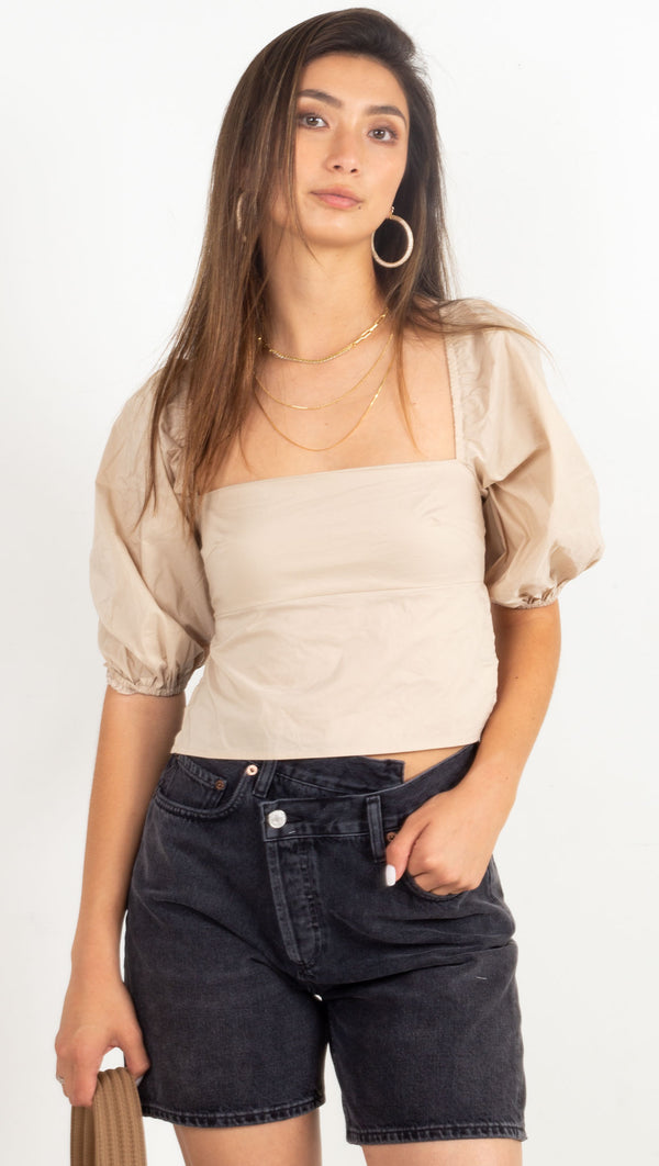 lace up back crop top cream
