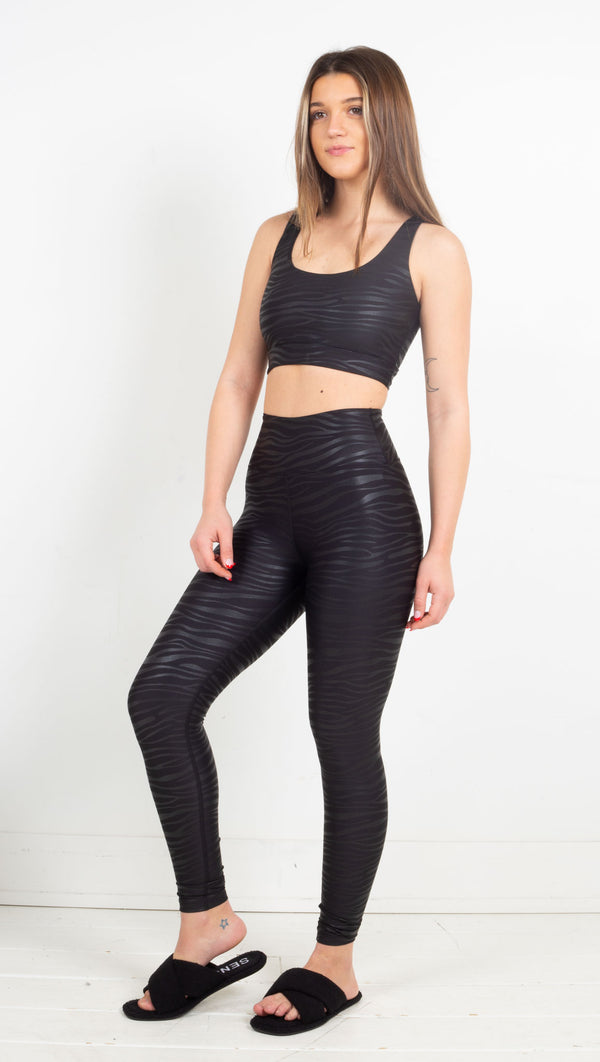 Tiger Foil Sport Legging - Black