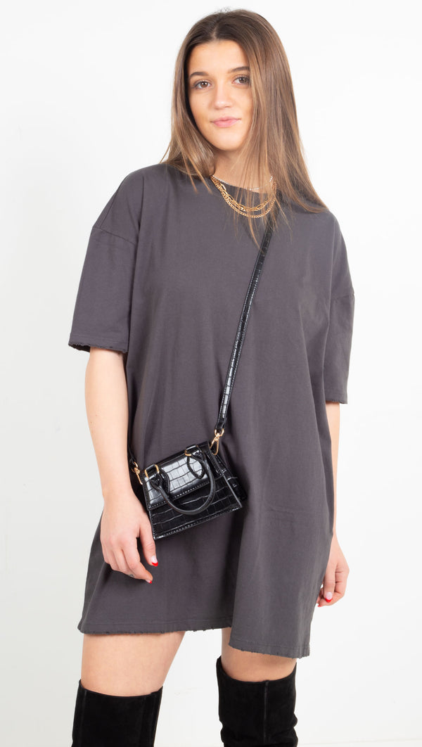 Oversized T Shirt Dress - Pirate Black