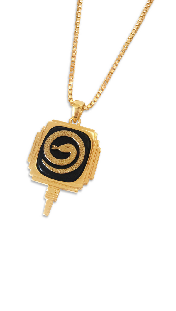 Vintage Snake Medallion Necklace - Gold Fill