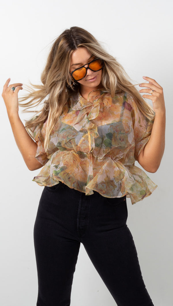 Garden Organza Blouse - Yellow Multi