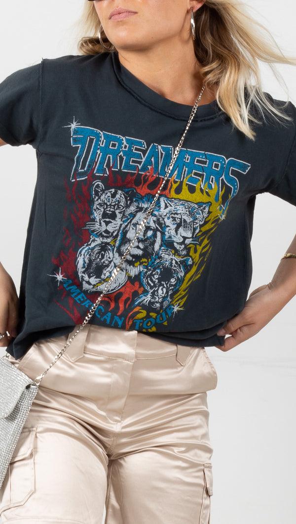 Dreamers American Tour Girlfriend Tee - Vintage Black