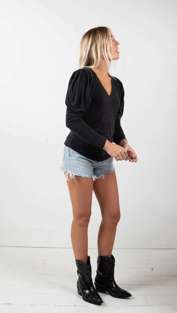 Cora Puff Sleeve Top - Black