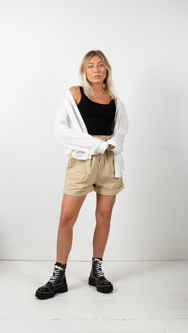 Isabella Belted Shorts - Taupe
