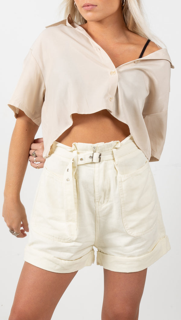 Layla Short Sleeve Button Down Shirt - Beige