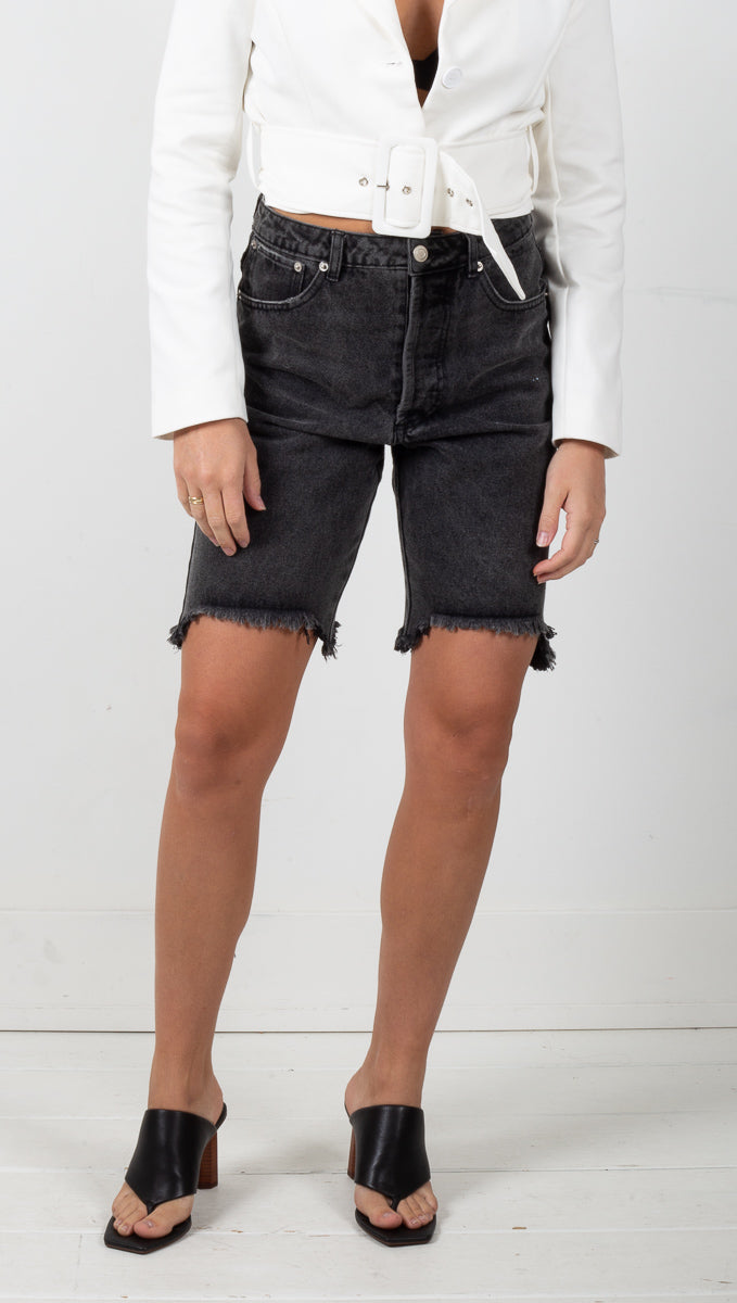 Brooklyn Denim Cutoff Shorts - Black