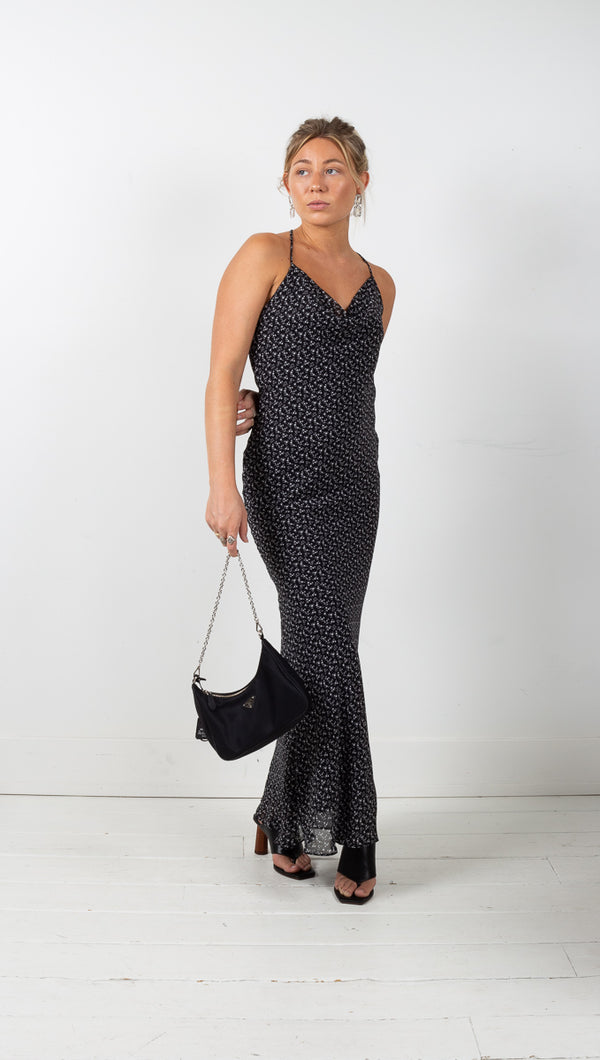 Syd Strappi Maxi Dress - Black Floral