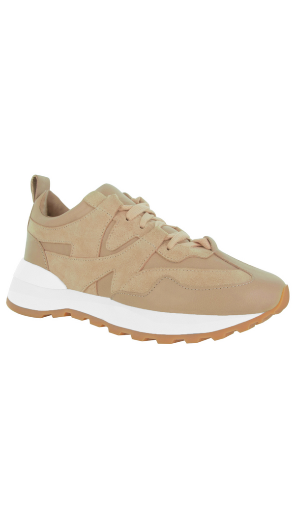 Senso tan matte leather sneaker with rubber role