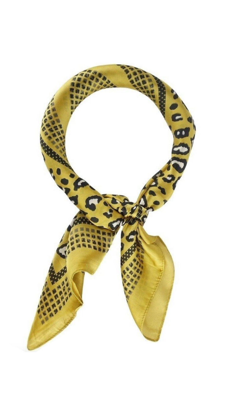 Silky Yellow/Gold Leopard Print Scarf