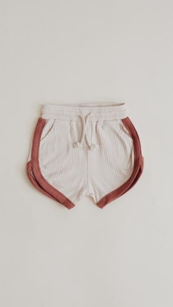 Orcas Lucille Kids Cream Ribbed Soft Shorts with Terracotta Details