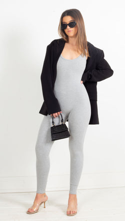 Ribbed Jumpsuit - Grey