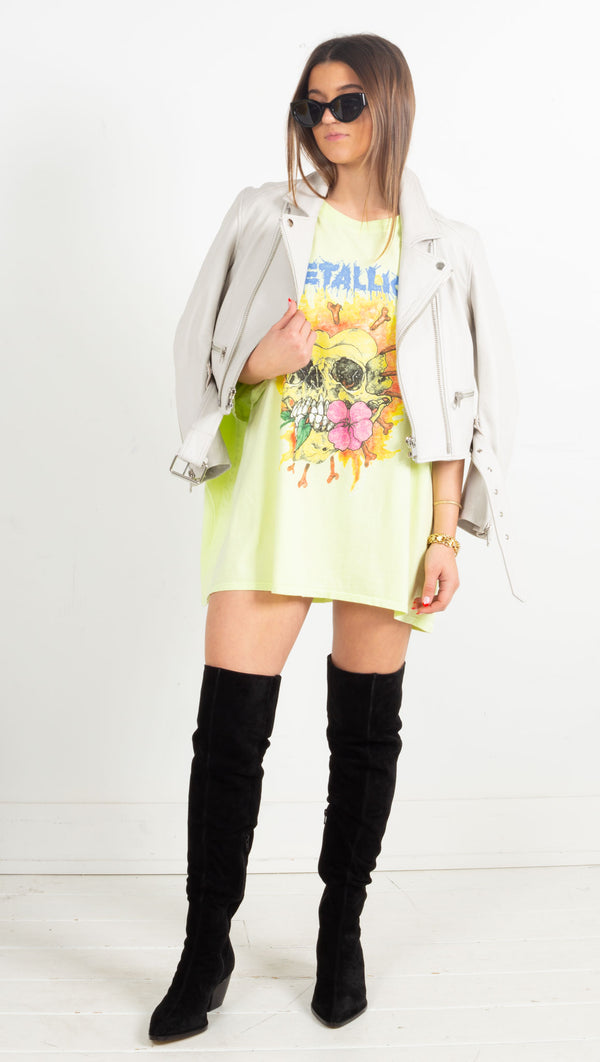 Metallica Flower Skull One Size Tee - Acid Yellow